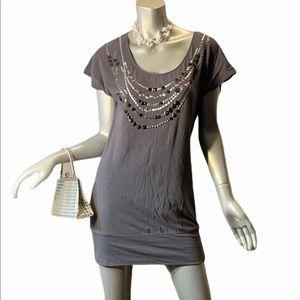 New York & CO Gray Mini Dress with Beads